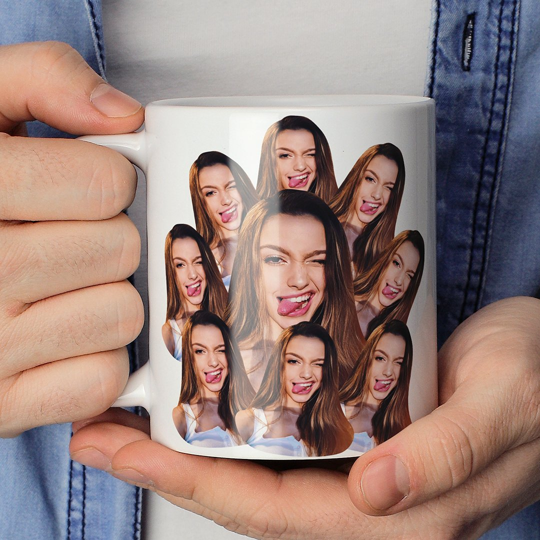 Personalized Mash Face Print Twin Sides Mugs