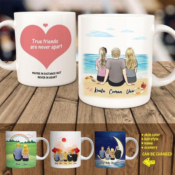 Personalised Best Friends Coffee Mug - Perfect Gift for Friends - Custom Cartoon Mug