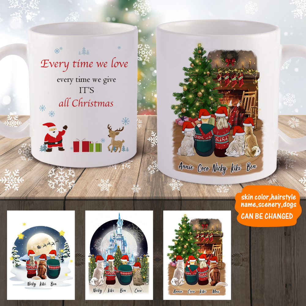 3D Preview - Personalized Family Christmas Mugs