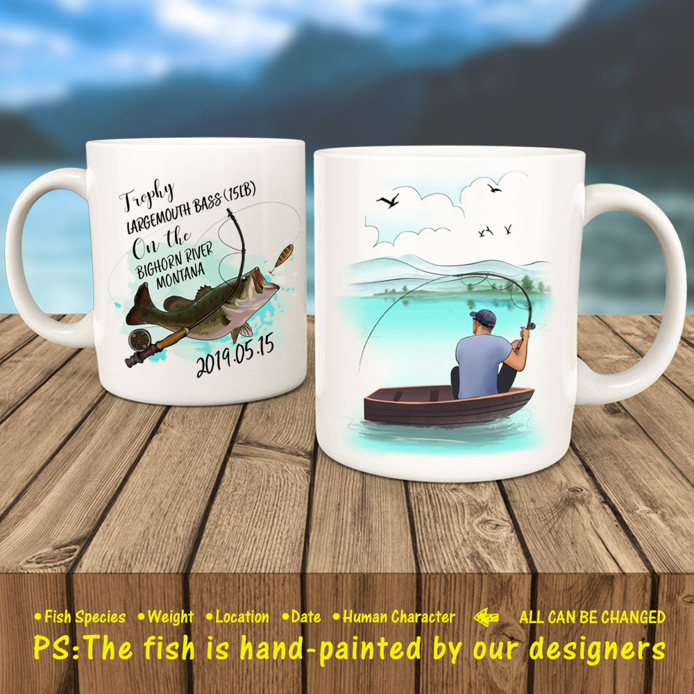 Personalized Fishing Commemorative Coffee Mug - For Angler