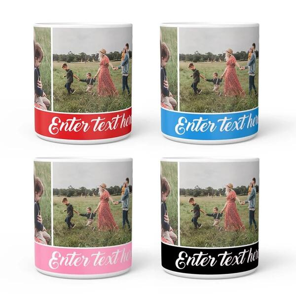 Personalized Photo Collage Mug with Engraving - 3 Photos
