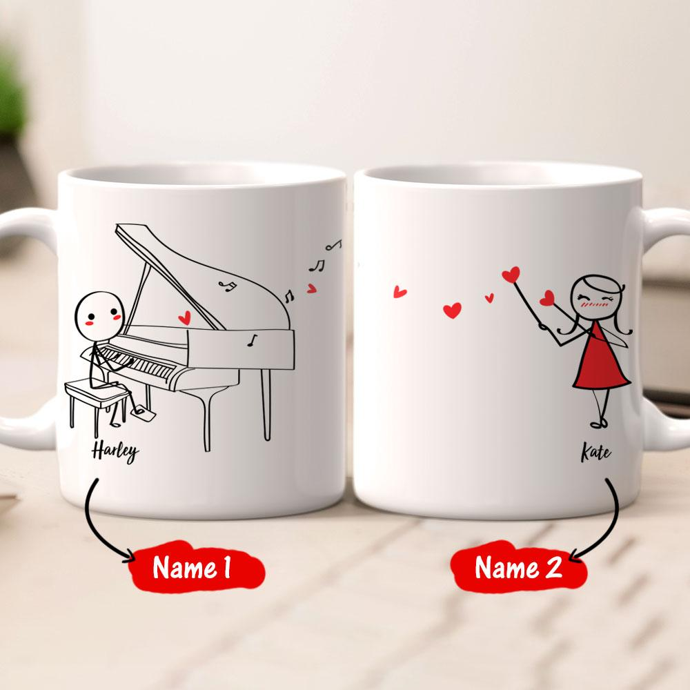 Personalized Name Couple Mug Set - Concerto of love