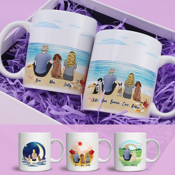 Personalized Cat&Dog and Person Coffee Mugs(online design & 3D preview)
