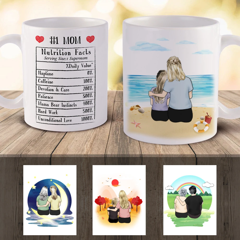 Custom Mom and Daughter Personalized Lover Coffee Mug(online design & 3D preview)
