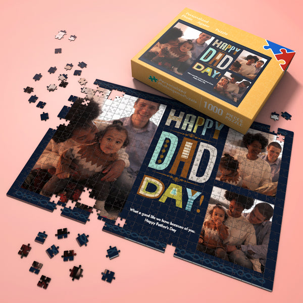 Custom Photo Jigsaw Puzzle Happy Dad Day Best Indoor Gifts 300-1000 pieces