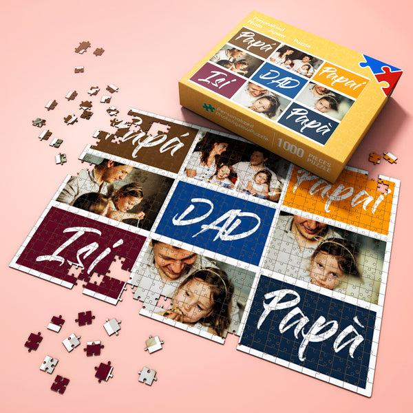 Custom Photo Jigsaw Puzzle Unique Father's Day Gift from Kids Best Indoor Gifts 300-1000 pieces Family Portrait