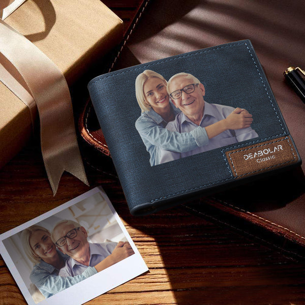 Custom Wallet Personalized Photo Wallet Bifold Lerther Wallet Father's Day Gift Color Printing Leather