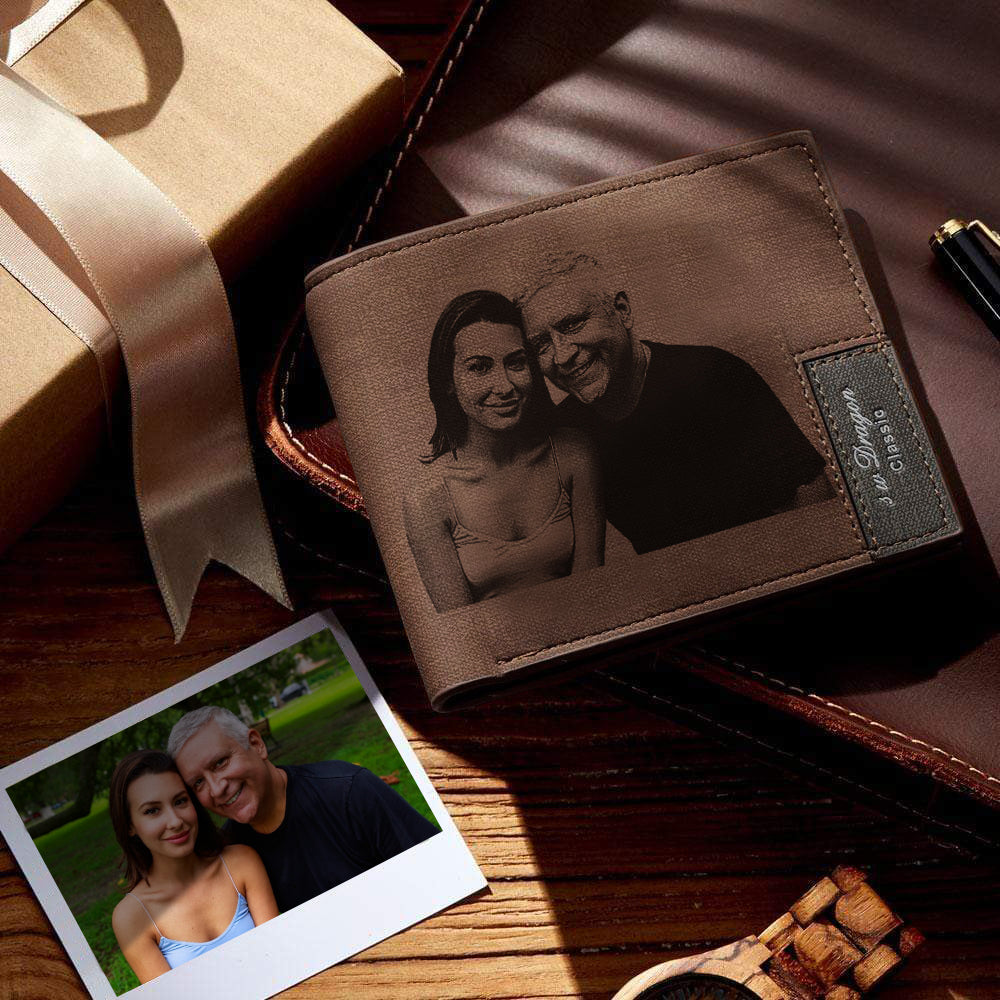 Custom Wallet Personalized Photo Wallet Bifold Lerther Wallet Father's Day Gift Short Wallet