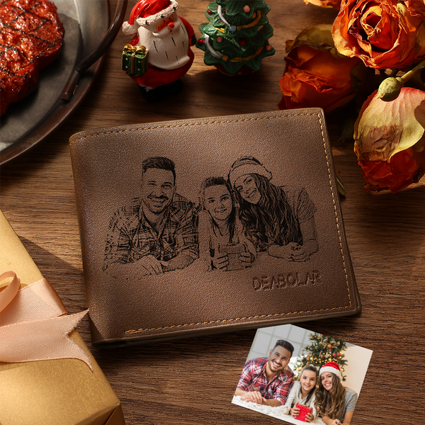 Custom Wallet Personalized Photo Wallet Tri-fold Lerther Wallet