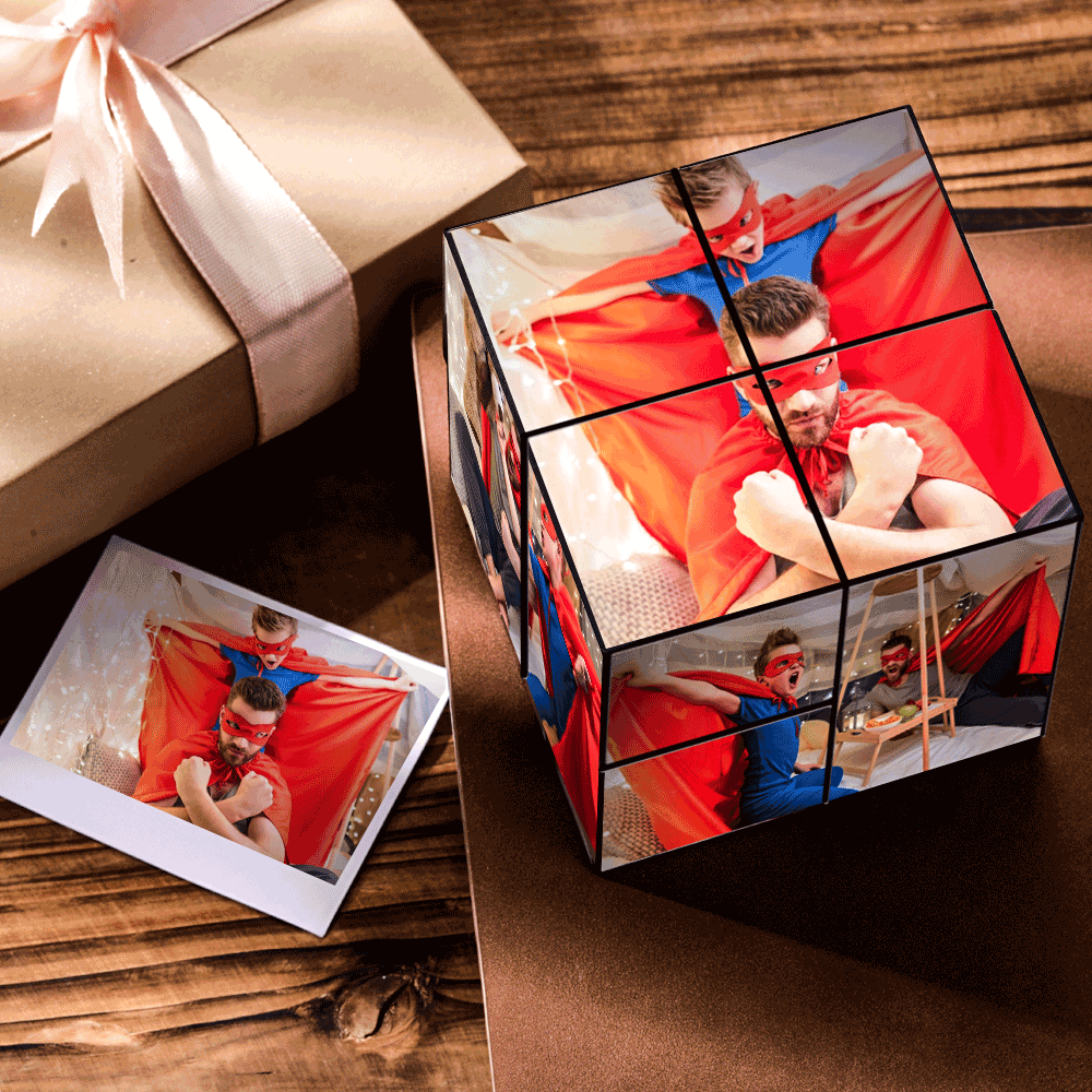 Personalized DIY Magic Photo Cube Gift For Father