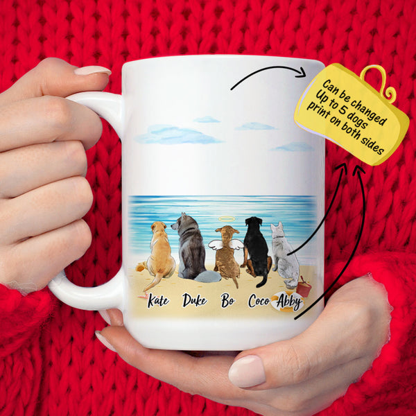 Personalized Dog Coffee Mug Or Dog&Dog Friends At the Seaside(Print On Both Sides)