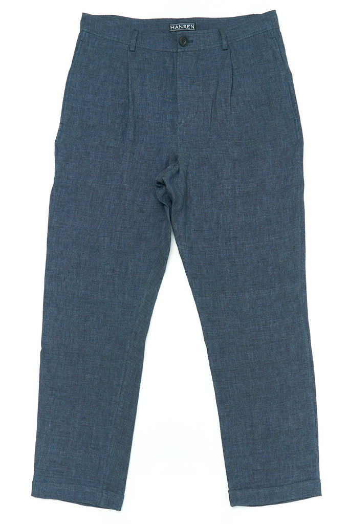 Hansen Mads Loose Fit Trousers Linen Blue Delave
