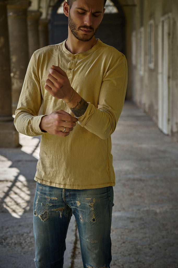 Homespun Knitwear Coalminer Henley Recycled Cotton Jersey Dune
