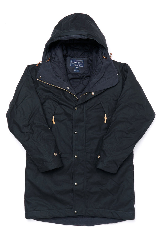 Manifattura Ceccarelli Waxed Long Mountain Jacket Wool Padded Cotton Cupro in Black