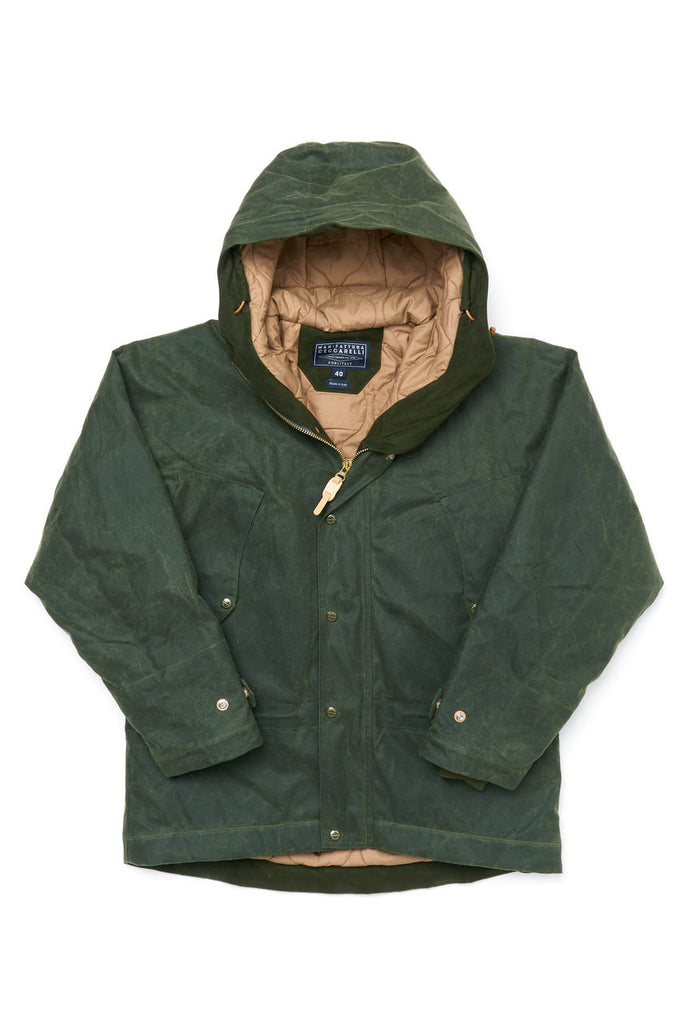 Manifattura Ceccarelli Waxed Mountain Jacket Wool Padded Cotton Cupro Dark Green