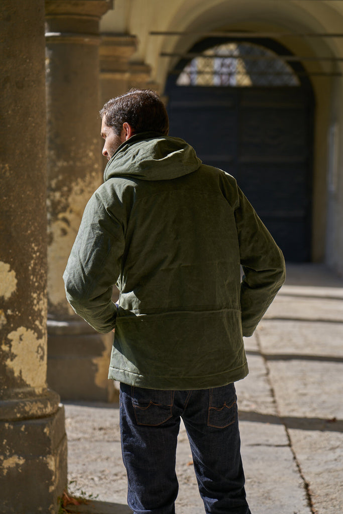 Manifattura Ceccarelli Waxed Mountain Jacket Wool Padded Dark Green