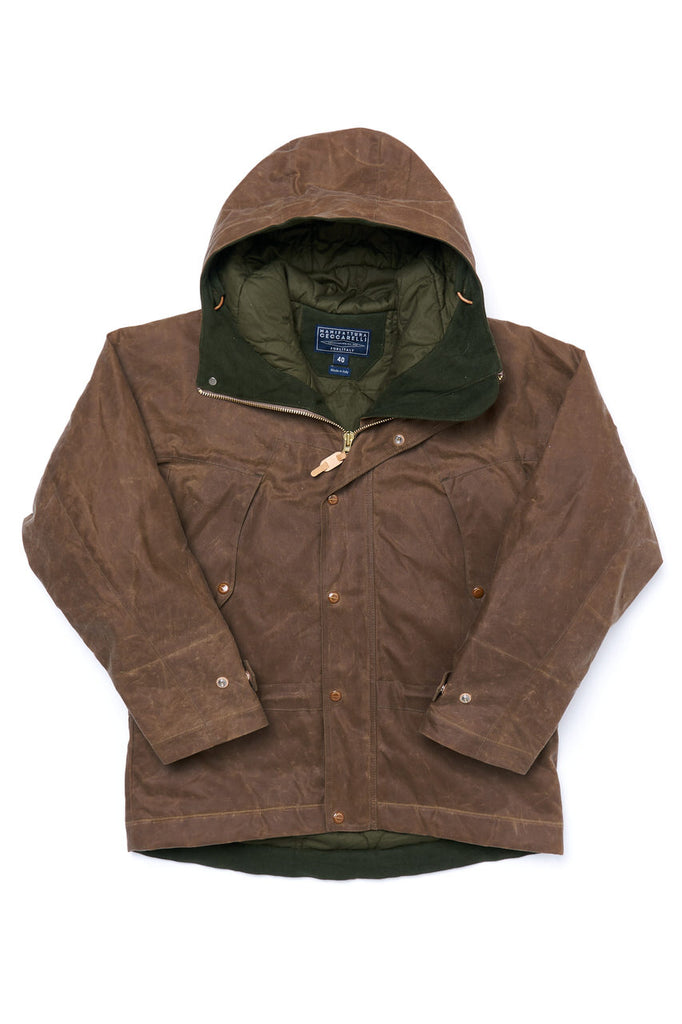 Manifattura Ceccarelli Waxed Mountain Jacket Wool Padded Cotton Cupro Dark Tan