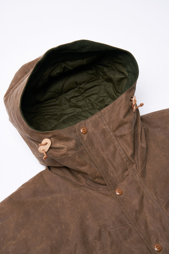 Manifattura Ceccarelli Waxed Mountain Jacket Wool Padded Dark Tan