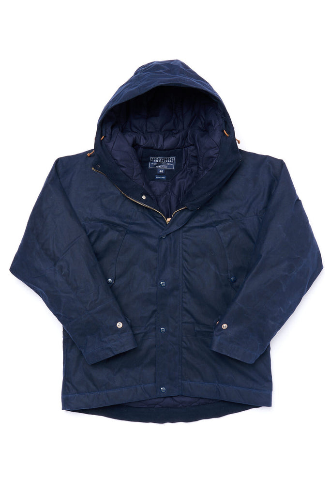 Manifattura Ceccarelli Waxed Mountain Jacket Wool Padded Cotton Cupro Navy