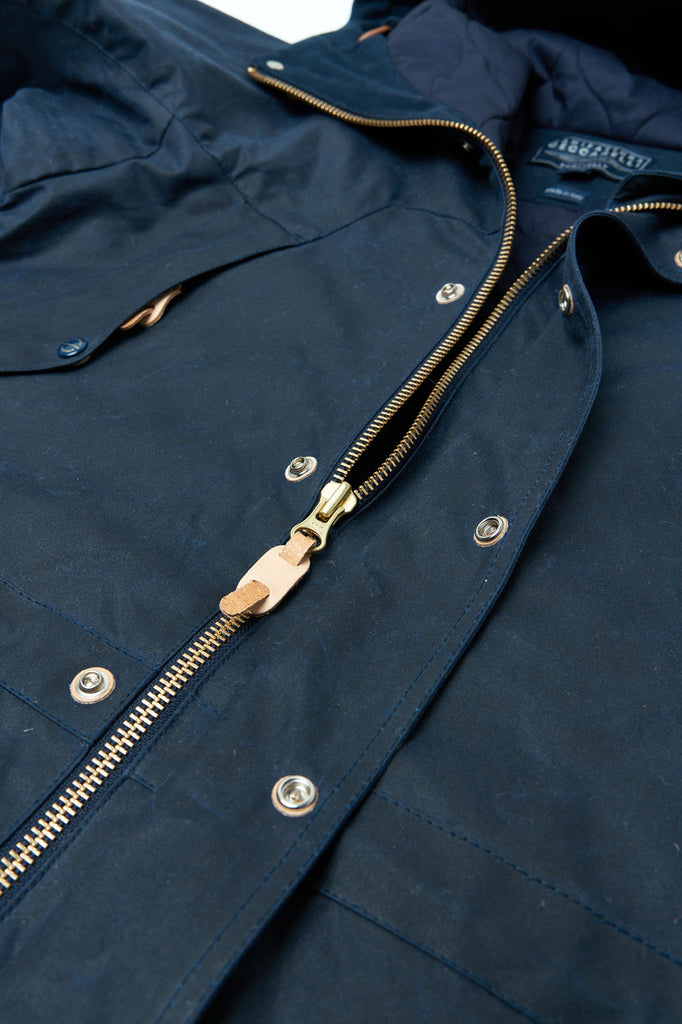 Manifattura Ceccarelli Waxed Long Mountain Jacket Wool Padded Navy