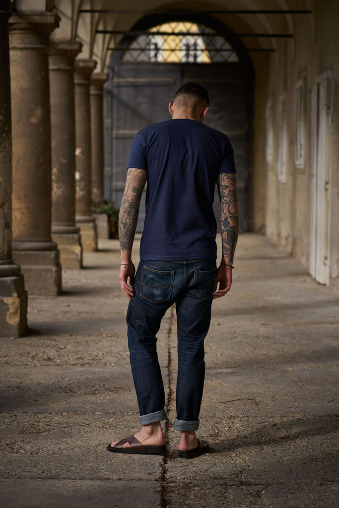 Naked & Famous Denim Circular Knit T-Shirt Navy