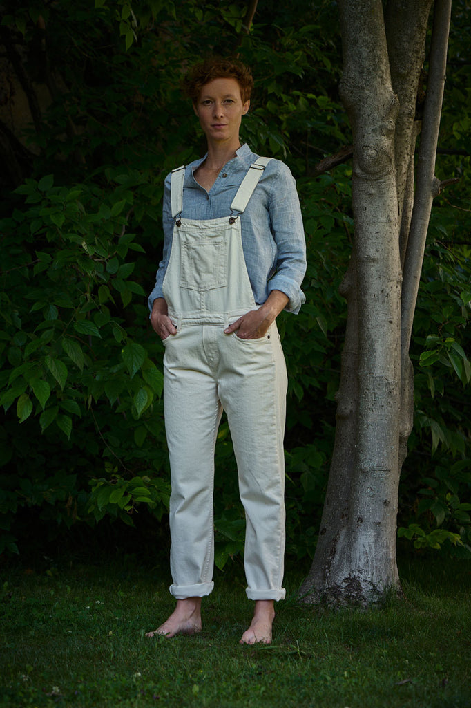Naked & Famous Denim Women's Bib Overall Natural Seed Denim