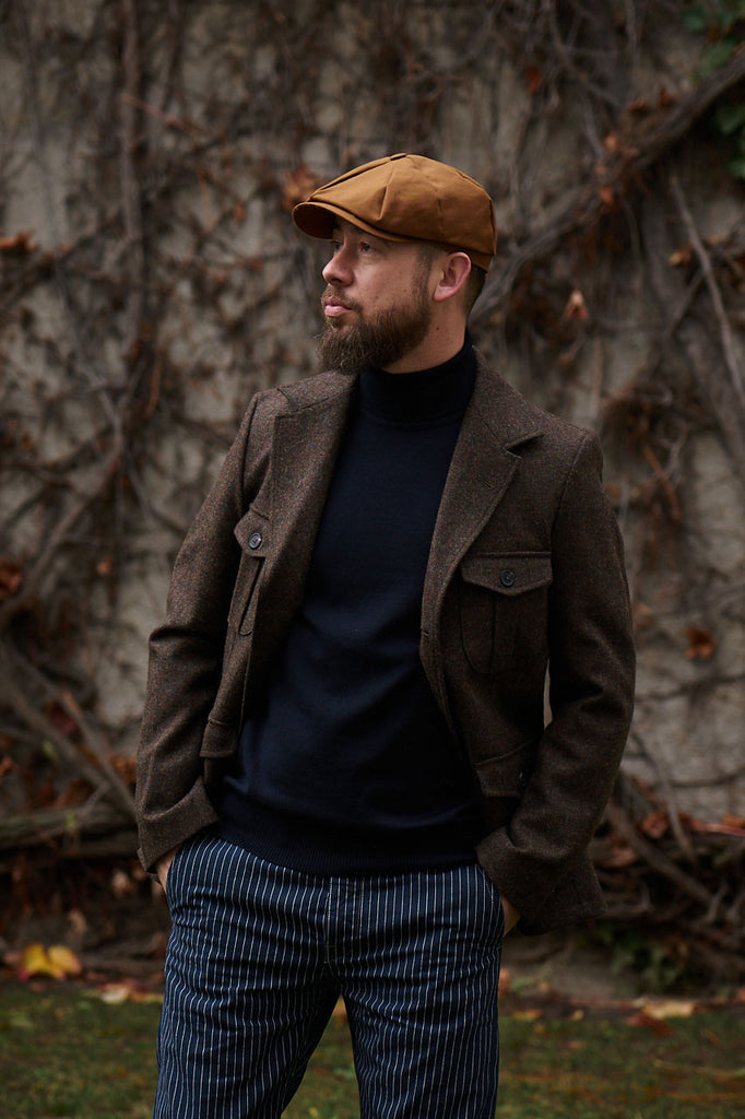 "Scarti Lab 8 Panel Cap ""Andy"" Canvas Brown"