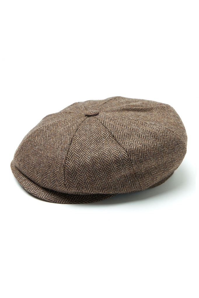 "Scarti Lab 8 Panel Cap ""Andy"" Herringbone Wool Brown"