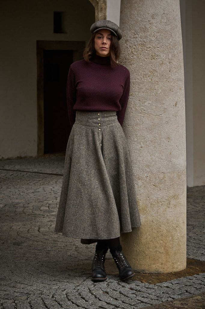 Scarti Lab Buttoned Skirt W700-SE869 Tweed Wool