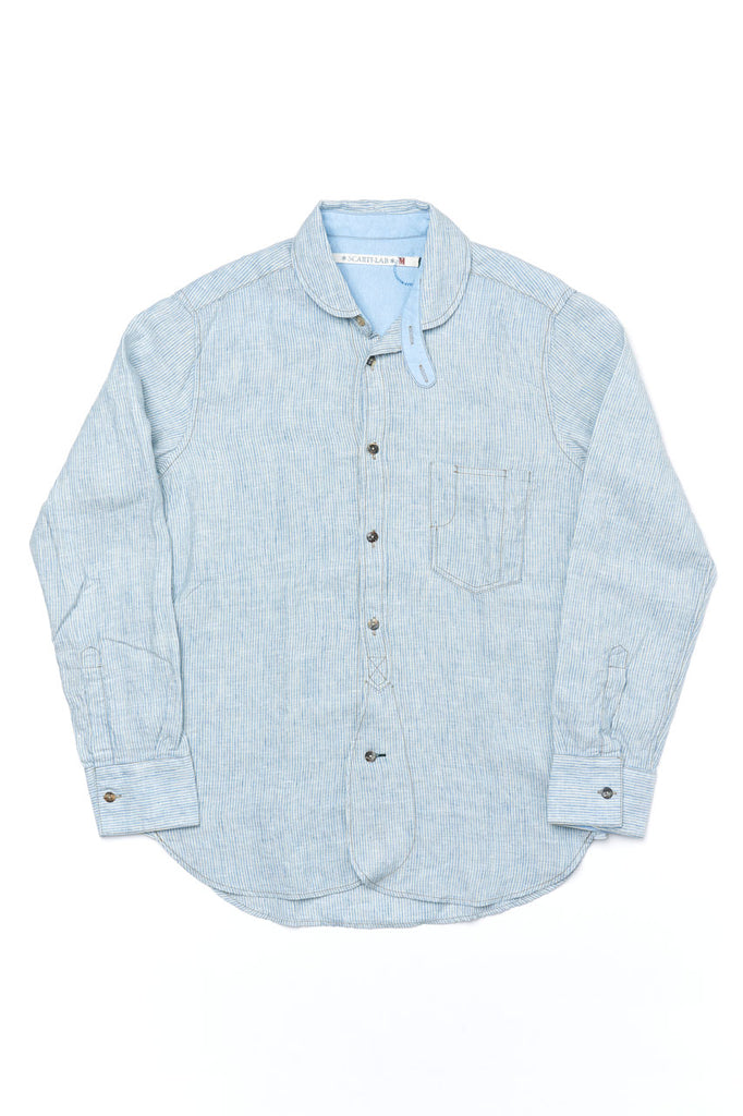 Scarti Lab Linen Shirt 310-SV333 Light Blue Stripes