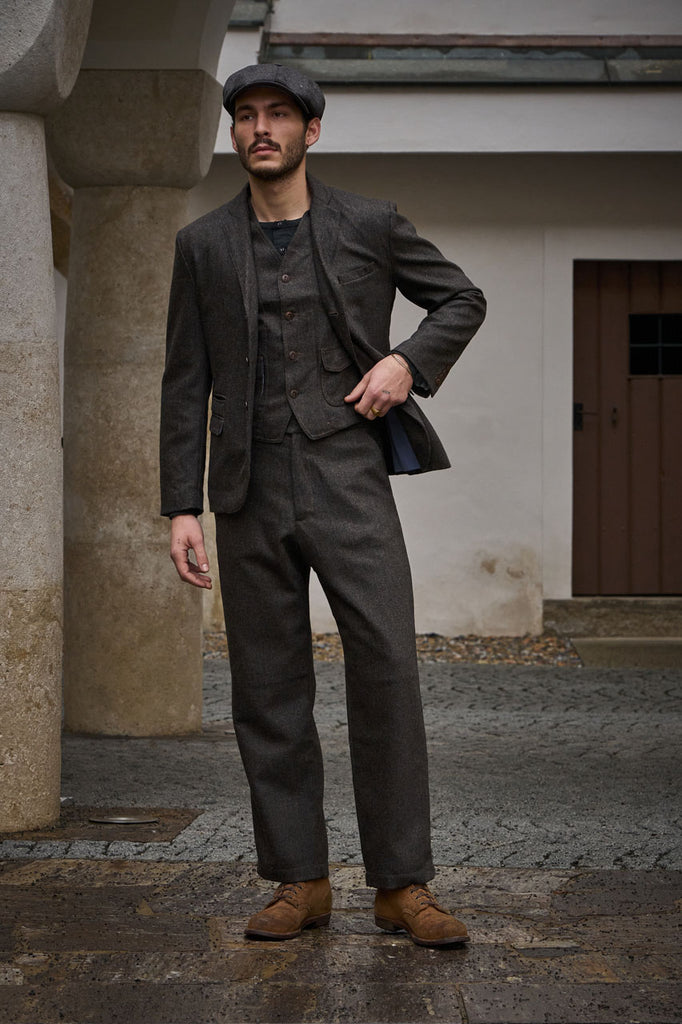Scarti Lab Pants 130-SE941 Herringbone Wool Dark Brown