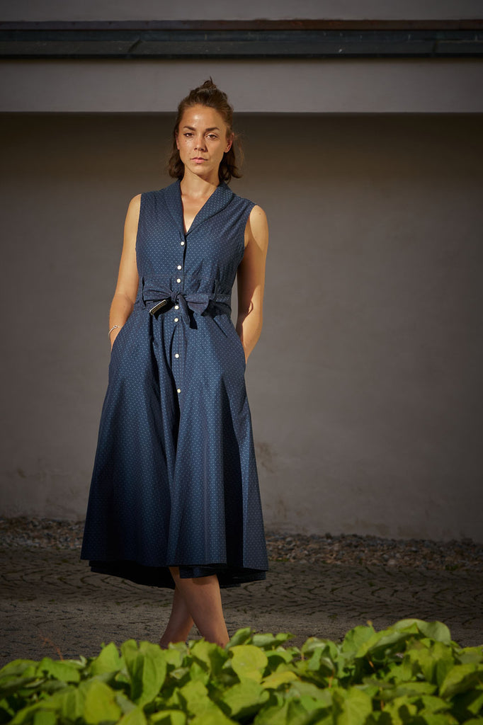 Scarti Lab Sleeveless Buttoned Dress W404-SB317 Indigo