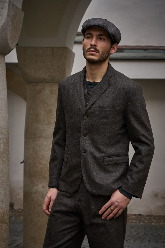 Scarti Lab Suit Jacket 710-SE941 Herringbone Wool Dark Brown
