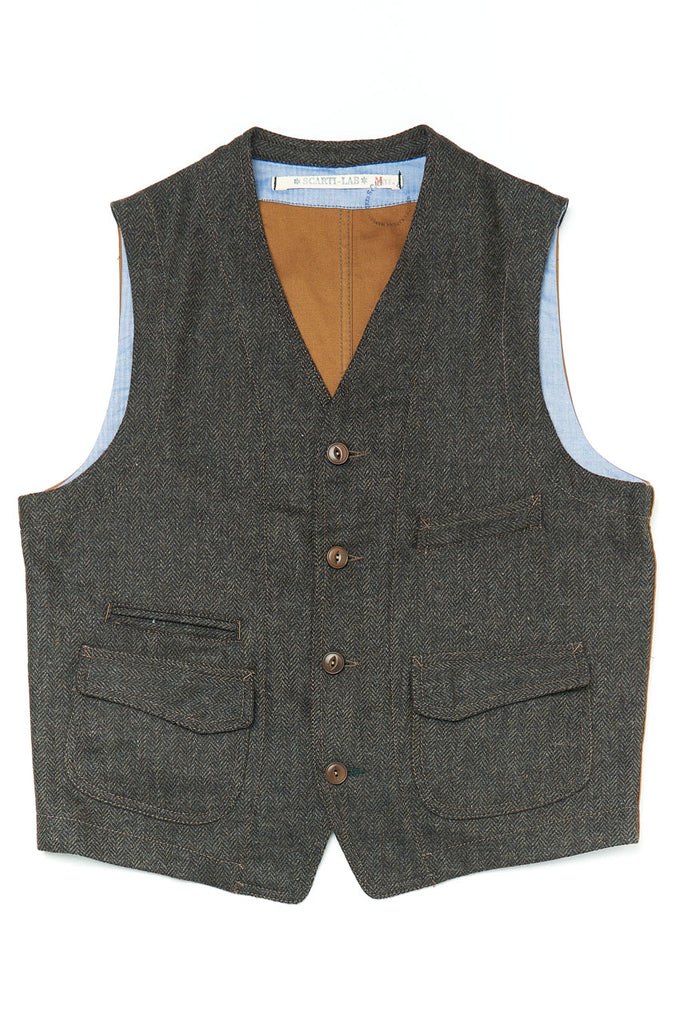 Scarti Lab Waistcoat 403-SE941 Herringbone Wool Dark Brown