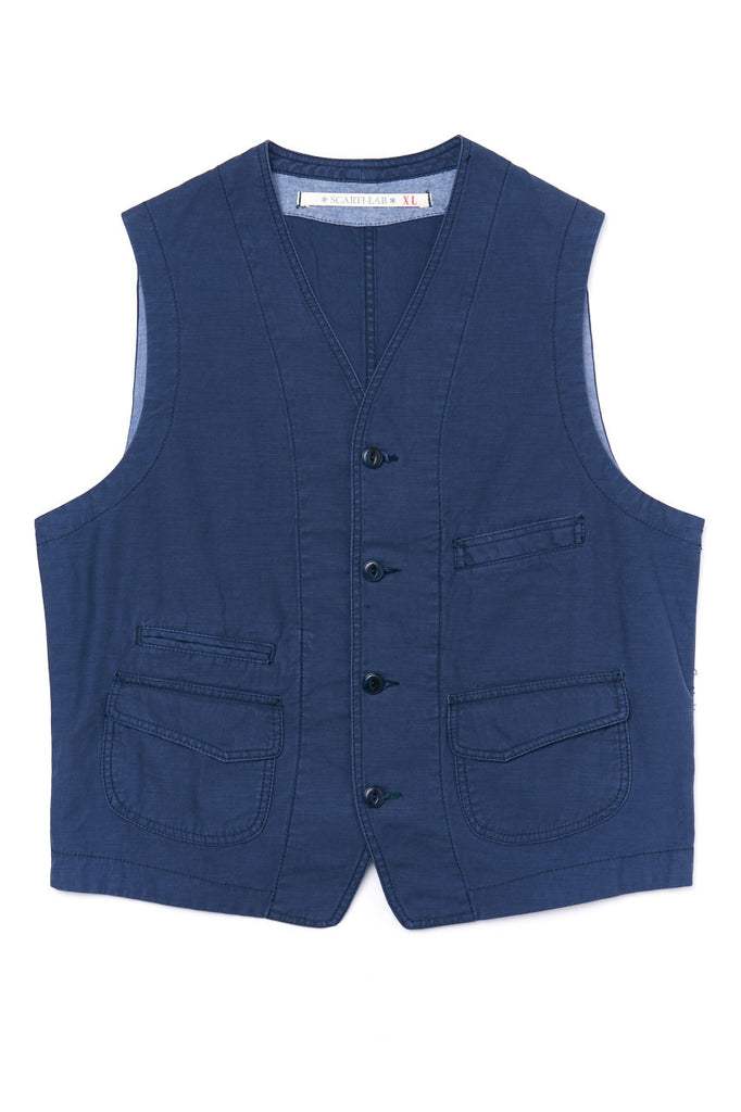 Scarti Lab Canvas Waistcoat 403-SG824 Blue Stone Washed