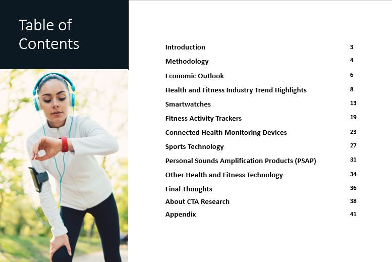 Table of contents for CTAs Industry Sector Forecast: Health and Fitness 2019-2024