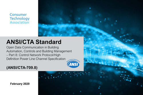 Open Data Communication in Building Automation, Controls and Building Management – Part 8: Control Network Protocol/High Definition Power Line Channel Specification (ANSI/CTA-709.8)