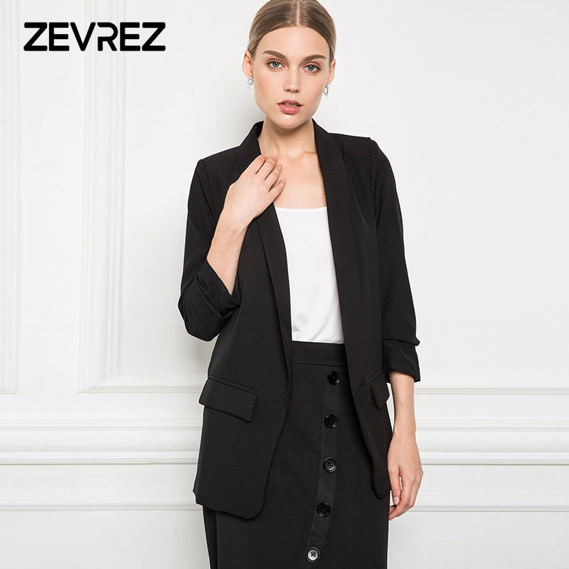 235895f25d0f 6 Colors Blazer Women Slim White Black Blazer Crimping Sleeve None Button Work  Office Ladies Blazer