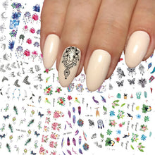 Load image into Gallery viewer, 1 pcs Nail Sticker Water Decals Women White Flower Cat Butterfly Transfer Nail Art Decoration 2018 NSm111