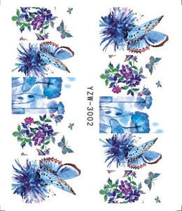 1 pcs Nail Sticker Water Decals Women White Flower Cat Butterfly Transfer Nail Art Decoration 2018 NSm111