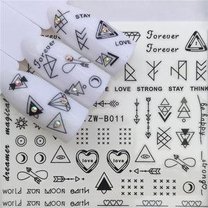 1 pcs Skull Halloween Plant Nail Sticker Water Decals Women White Flower Cat Butterfly Transfer Nail Art Decoration m3b8v