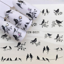 Load image into Gallery viewer, 1 pcs Skull Halloween Plant Nail Sticker Water Decals Women White Flower Cat Butterfly Transfer Nail Art Decoration m3b8v