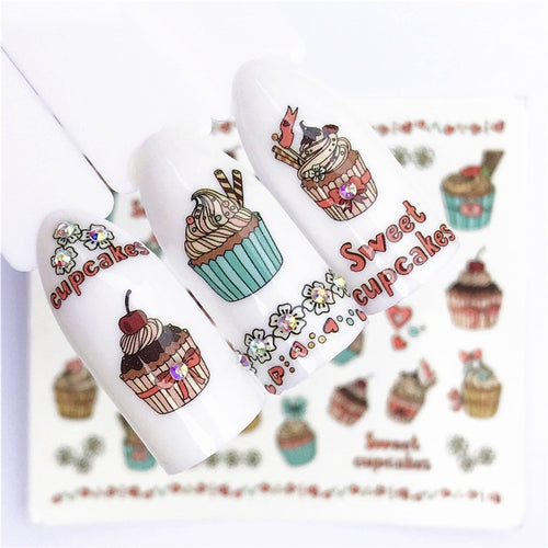 1 pcs Fruit Christmas Nail Stickers Flowers pPlants Water Decal Cat Pattern 3D Manicure Sticker Nail Art Decoration m3N96