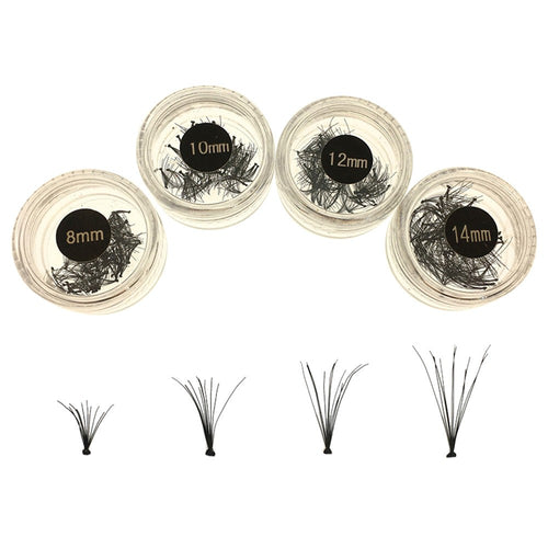 4pcs Individual False Eye Lashes Wave Mink 0.1D Black Silk Eyelashes Extension