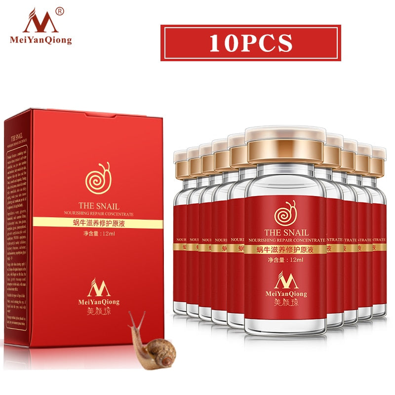 10pcs/lot Snail liquid contains plant essence hyaluronic acid anti-aging whitening skin lifting skin moisturizing essence 12 ml