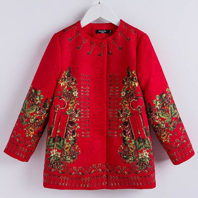 Winter Red Floral Jackets
