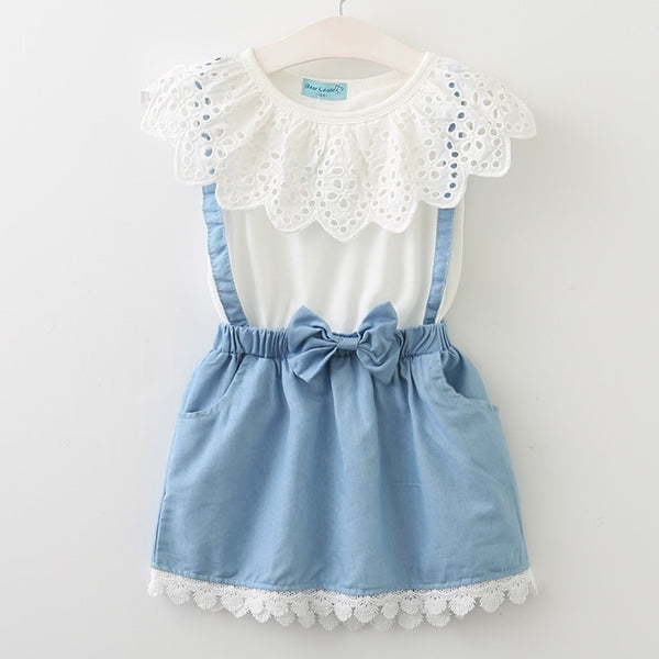 Girls Belt Lace Dress