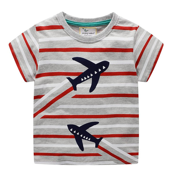 Plane Pattern Striped T-Shirts