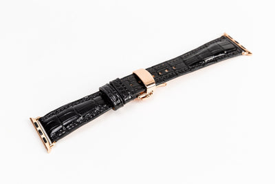 Luxury 38/40mm Apple Watch Strap Sample - Glazed Black Gator