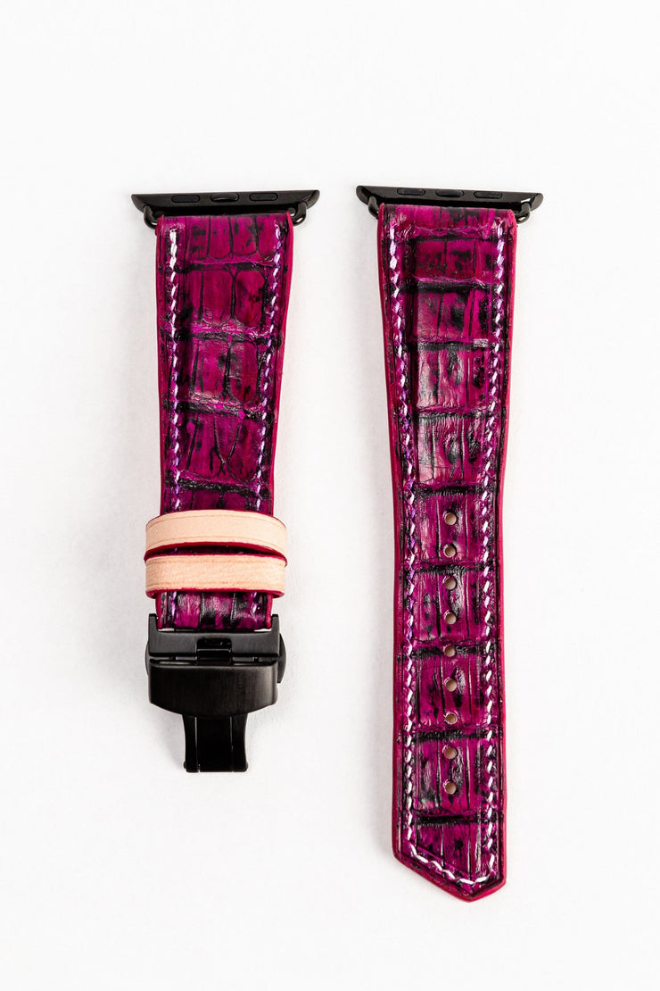 Luxury 42/44mm Apple Watch Strap Sample - Custom Purple and Black Caiman